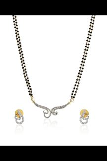 Picture of Black beads mangalsutra pendant set