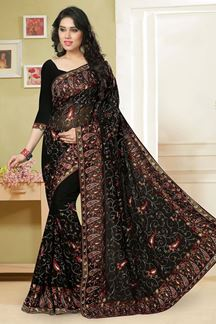 Picture of Luscious black georgette saree with resham work