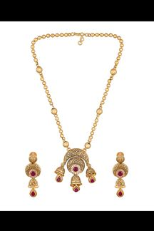Picture of Showy pink & gold designer pendant set