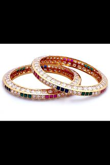 Picture of Gorgeous multicolor stone work bangles