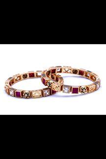 Picture of Lovely pink & gold designer bangle set