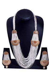 Picture of Rich cream & gold designer necklace set