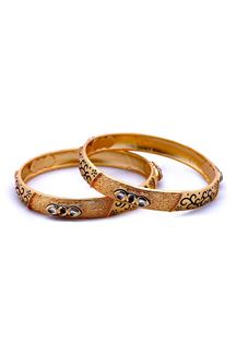 Picture of Stunning gold plated bangles with black
