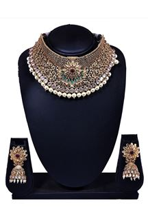 Picture of Enticing pink & green stone necklace set
