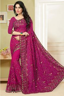 Picture of Appealing pink saree with resham work