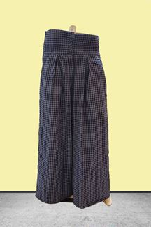 Picture of Stylish blue checkered printed palazzos