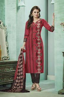 Picture of Light red & brown designer suit