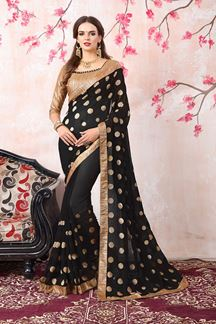 Picture of Fetching black designer saree with motifs