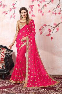 Picture of Divine pink designer saree with foil print