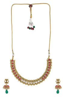 Picture of Kundan necklace set with ruby, emerald stones.