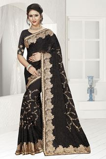 Picture of Dauntless black designer saree with zari