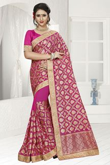 Picture of Classy dark pink designer saree with zari