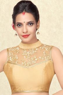 Picture of Sophisticated gold blouse with zari work