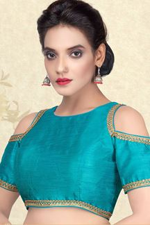 Picture of Heavenly blue plain designer blouse