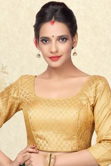 Picture of Soothing gold designer blouse with self