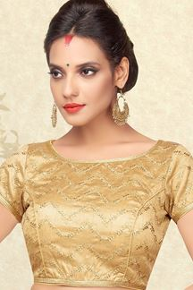 Picture of Affluent gold designer blouse with zari