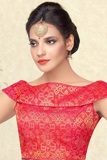 Picture of Gripping red two toned designer blouse