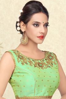 Picture of Pastel green designer blouse with stones