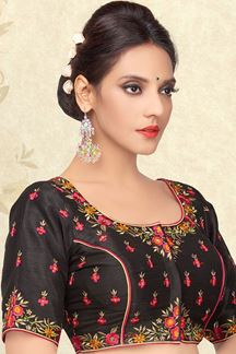 Picture of Lavish black designer blouse in resham