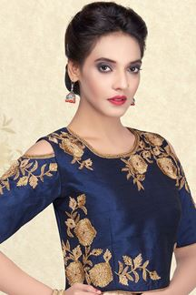 Picture of Astounding blue designer plain blouse