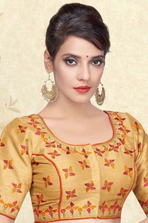 Picture of Graceful beige designer blouse with zari