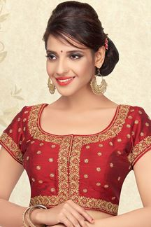 Picture of Dark red designer blouse with motifs