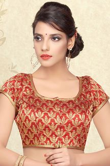 Picture of Palatial red designer brocade blouse