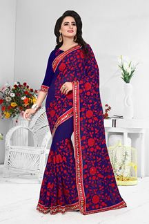 Picture of Blue designer saree with red resham