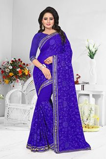 Picture of Aspiring blue designer saree with resham