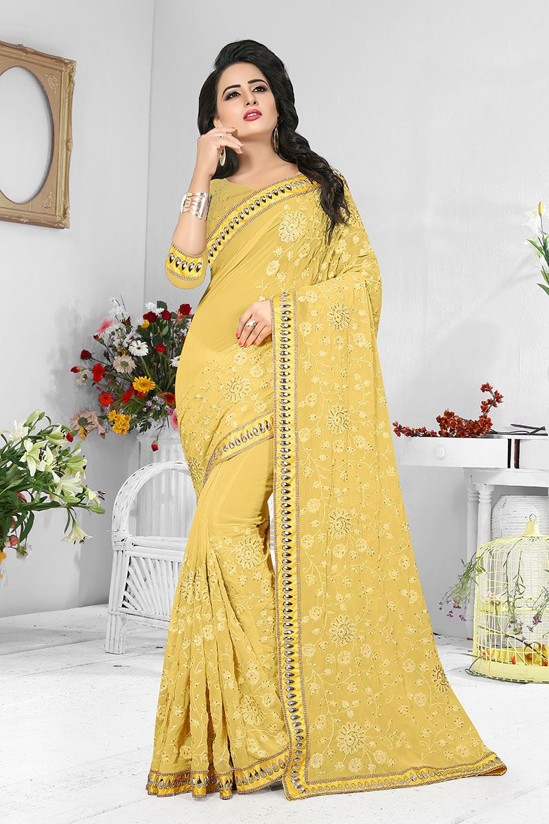 19df99d158ae Picture of Charming pale yellow designer self saree