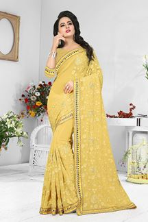 Picture of Charming pale yellow designer self saree