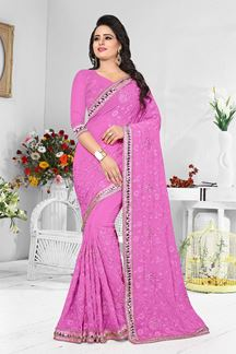 Picture of Promising pink designer saree with work
