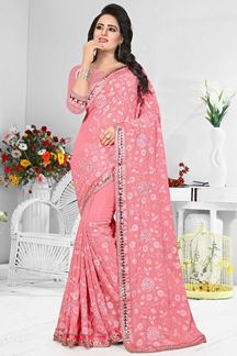 Picture of Lavish pink designer saree with resham