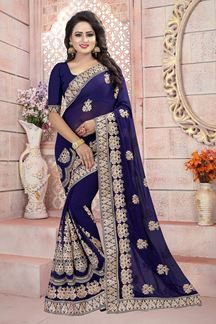 Picture of Fabulous dark blue designer saree