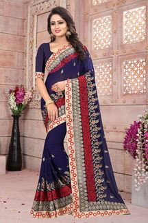 Picture of Distinctive dark blue designer saree