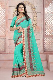 Picture of Modish blue designer saree with resham
