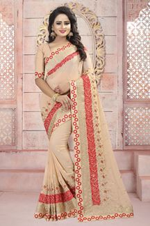 Picture of Pastel peach designer saree with resham