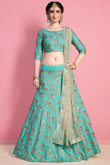 Picture of Pristine green designer lehenga choli set