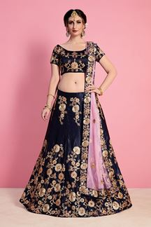 Picture of Outstanding navy blue designer lehenga