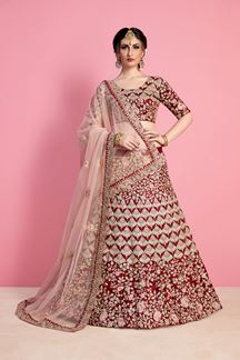 Picture of Blingy Maroon Designer Bridal Lehenga