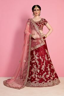 Picture of Mystical Deep Maroon Designer Lehenga Set