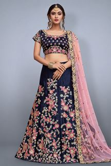 Picture of Distinctive Dark Blue Designer Lehenga