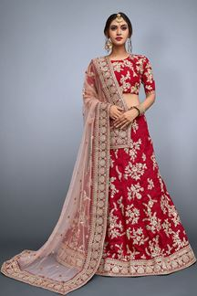 Picture of Fascinating red designer lehenga choli set
