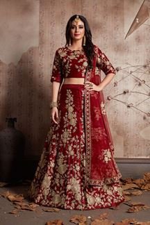 Picture of Dazzling Maroon Designer Lehenga Choli Set