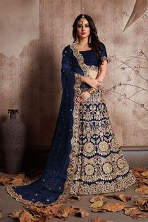 Picture of Magnificent dark blue designer lehenga
