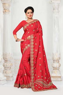 Picture of Enticing red designer saree with motifs