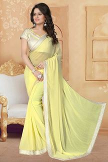 Picture of Appealing yellow designer plain saree