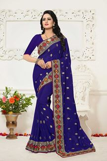 Picture of Lavish royal blue designer saree with zari
