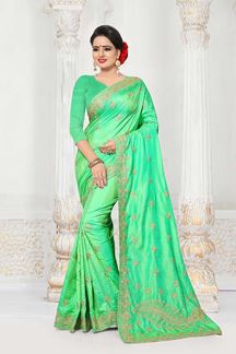 Picture of Flashy parrot green designer plain saree