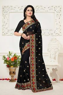 Picture of Outstanding black designer sheer saree
